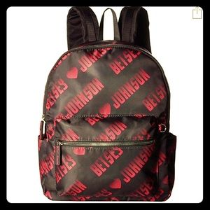 Betsey Johnson Backpack Black Pink Logo Pencil NWT
